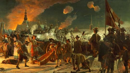 Maleri af F. C. Lund af Stormen på København i 1659, Frederik d. 3. og Karl Gustav