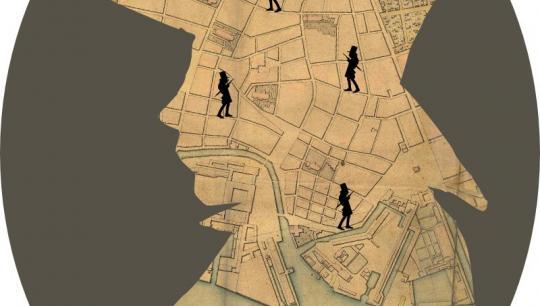 Collage med silhouet af Søren Kierkegaard
