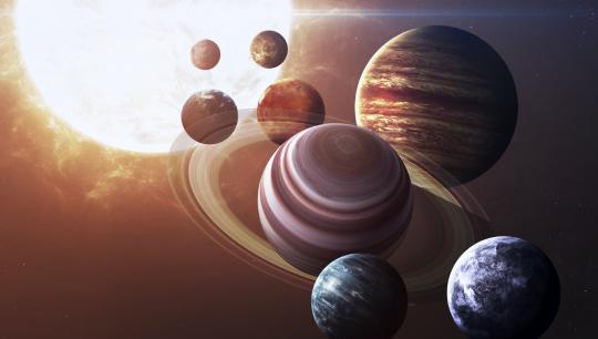 Planeter og solsystemet, foredrag om Merkur, Venus, Jorden, Mars, Jupiter, Saturn, Uranus og Neptun